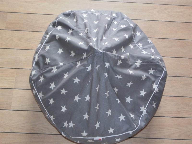 Sækkestol til drenge og piger - grå med stjerner