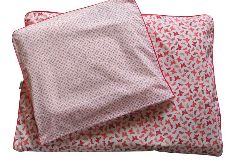 rødt sengetøj Baby/Junior sengetøj   Sommerfugle, Rød/Fucia rødt sengetøj