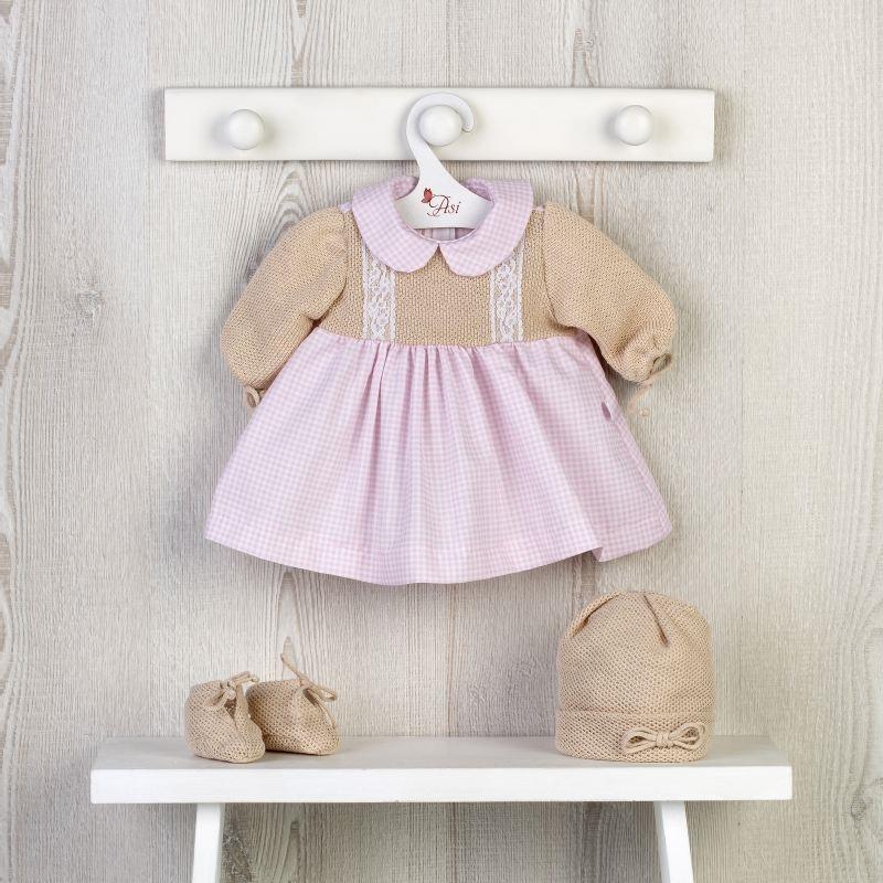 Asi Leonora dukketøj lyserød kjole m blomsterprint