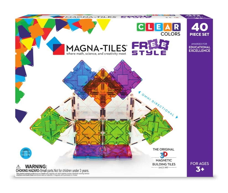 Magna-Tiles Byggemagneter Freestyle, Clear Colors - 40 dele
