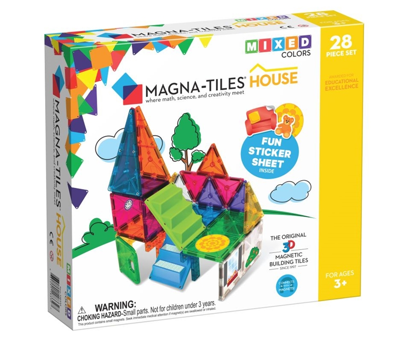 Magna-Tiles Byggemagneter House, Mixed Colors - 28 dele