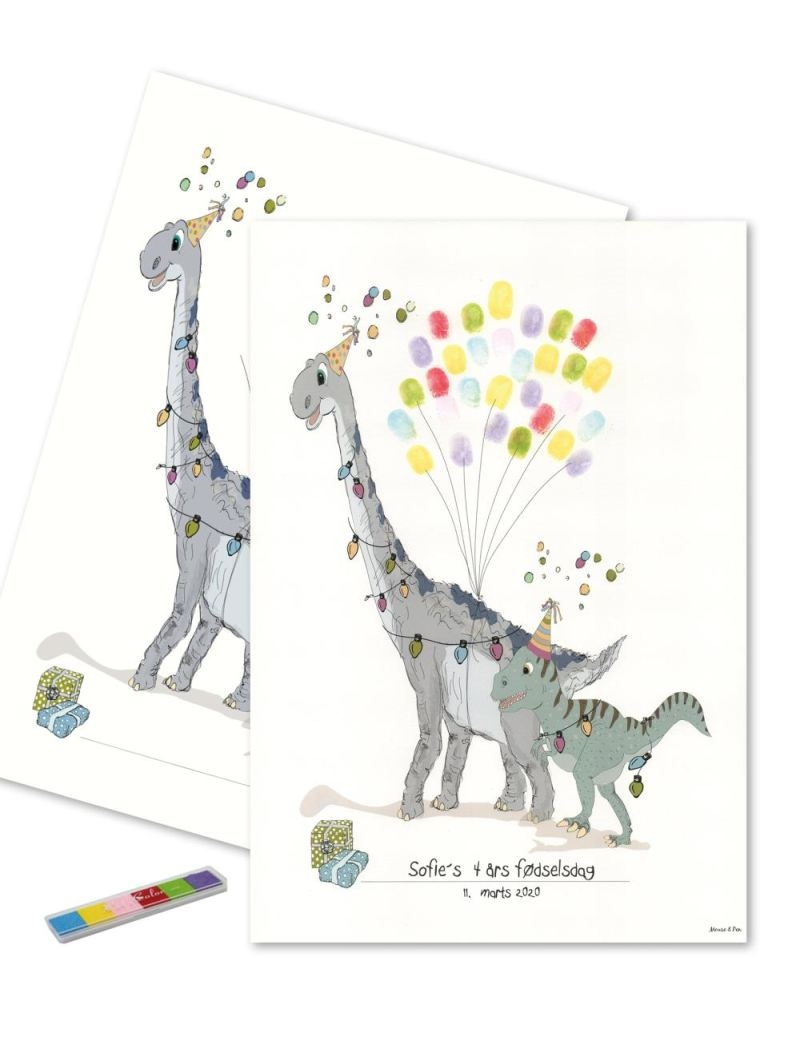 Mouse & Pen - Baby Fingerprint - Dino party - Multi