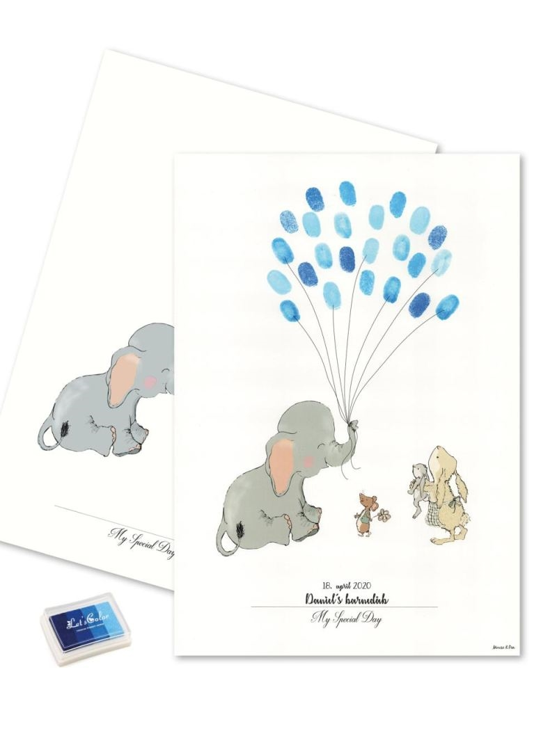 Mouse & Pen - Baby Fingerprint - Elephant Balloon - Blå