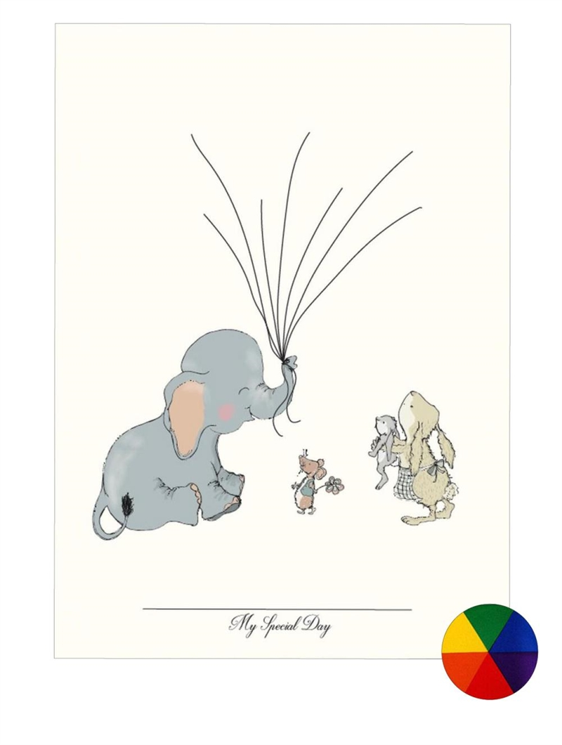 Mouse & Pen - Baby Fingerprint - Elephant Balloon - Multi