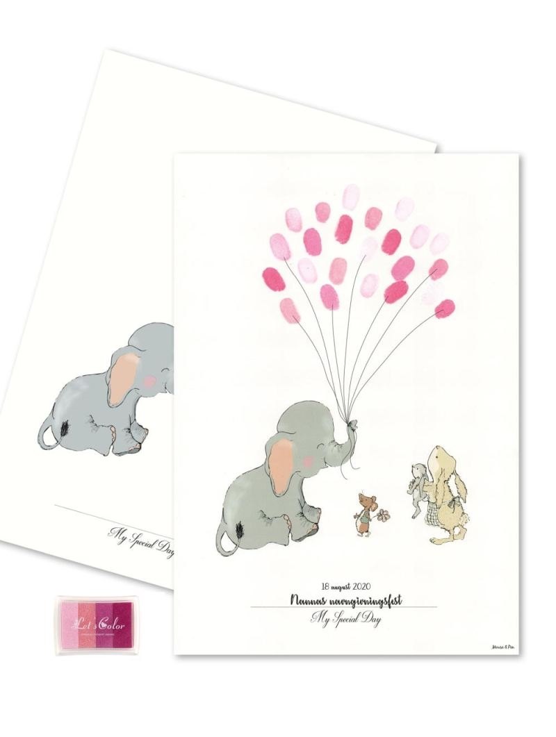 Mouse & Pen - Baby Fingerprint - Elephant Balloon - Pink