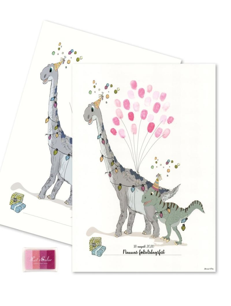 Mouse & Pen - Baby Fingerprint - Dino party - Pink